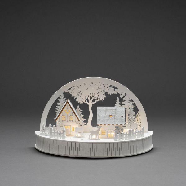 LED-Holzsilhouette Traumland Weiß