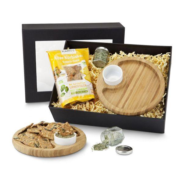 Snack-Set Bambusteller & Käsecracker