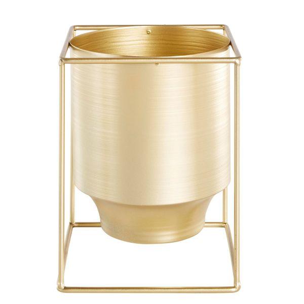 Deko-Übertopf Cube Goldfarben