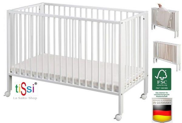 Kinderbett / Faltbett/ Babybett tiSsi® Buche Massiv weiß inkl. Matratze