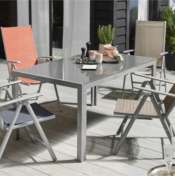 Outdoor Tisch Modern grau 150 cm Aluminium Glas
