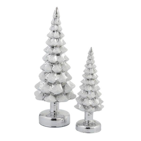LED Deko-Set Tannenbäume,2-tlg Snow Silberfarben/Weiß