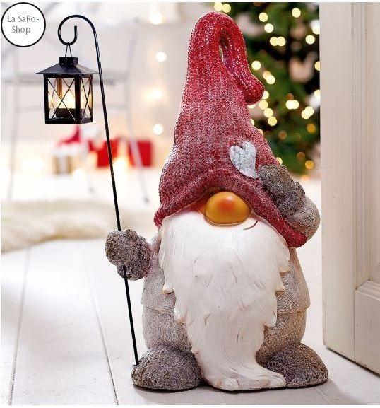 Dekofigur Weihnachtswichtel mit Laterne H 50 cm