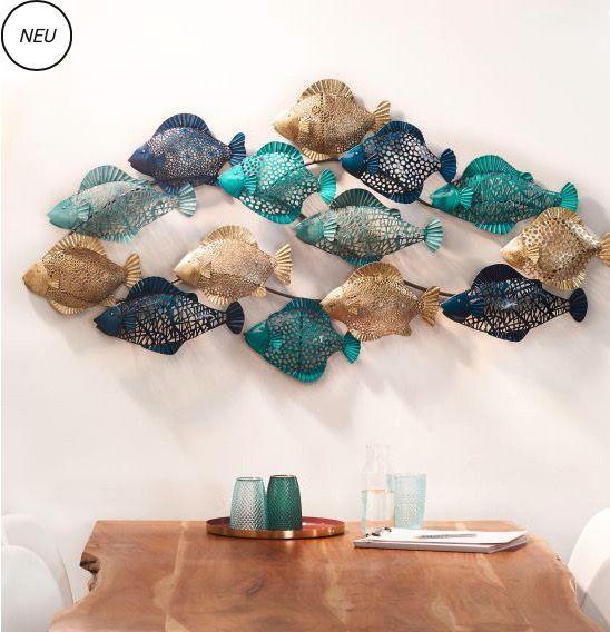 Wanddeko-Objekt Fish Wandbild Schwarm