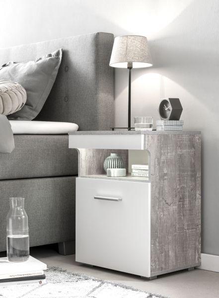 Nako Nachttisch mit Tür und Ablagen - 3 Farben