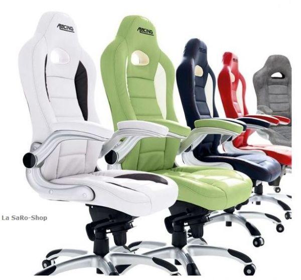 Bürostuhl Racing in 6 Farben höhenverstellbar
