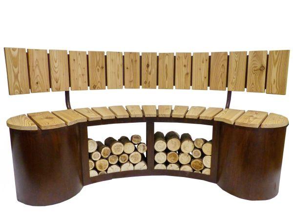 Sitzbank inkl. Lehne Holzlager Rost