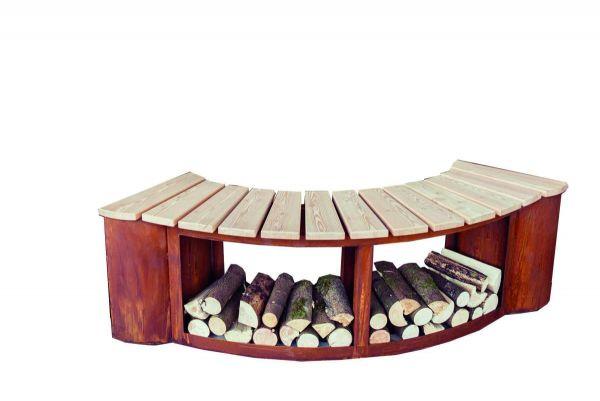 Sitzbank Holzlager Rost