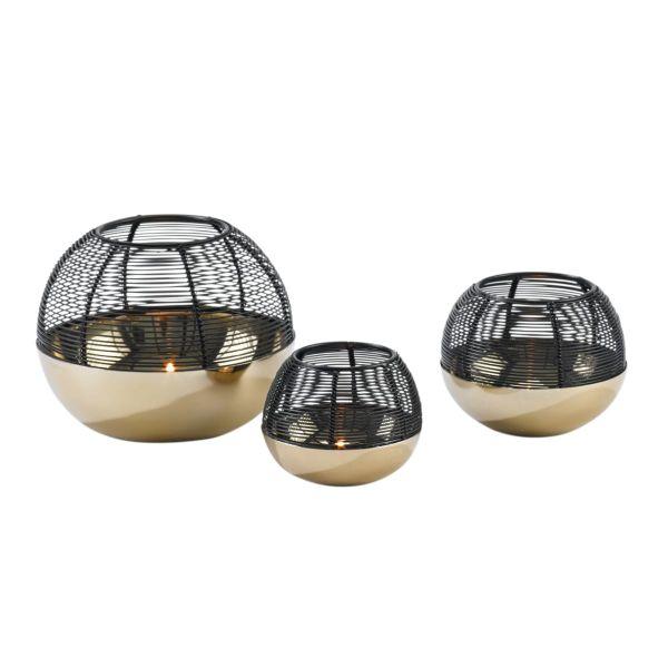 Teelichthalter-Set, 3-tlg. Globe Goldfarben/Schwarz