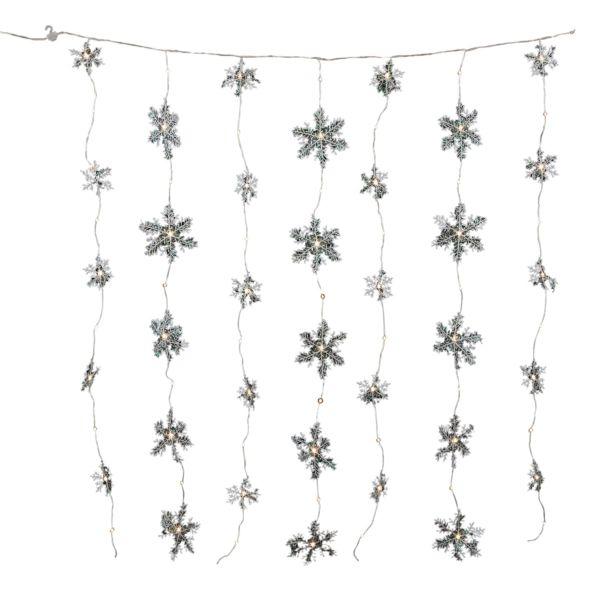 LED-Vorhang Schneeflocken Weiß