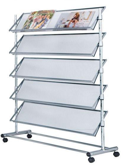Prospektständer 5 Ablagen Metall Rollbar 100x43x126 cm
