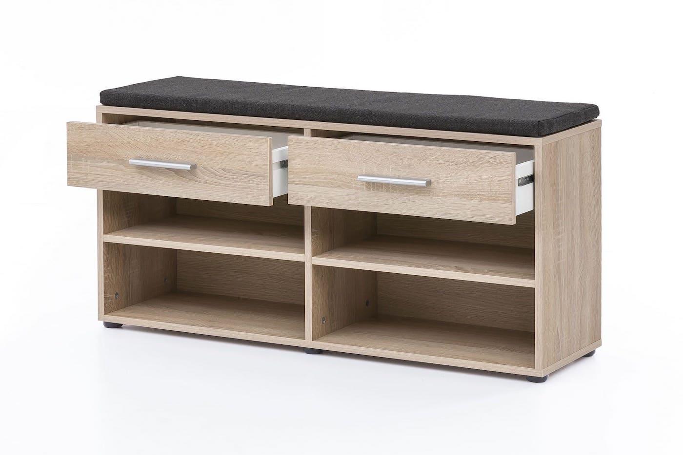sitzbank mit sitzpolster 2 schubladen eiche saegerau. Black Bedroom Furniture Sets. Home Design Ideas