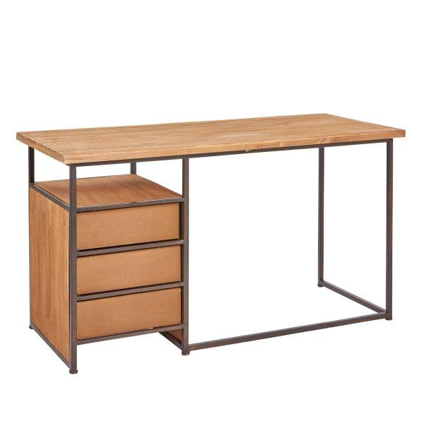 Schreibtisch Rusty Braun Schwarz 140 cm breit Holz Metall