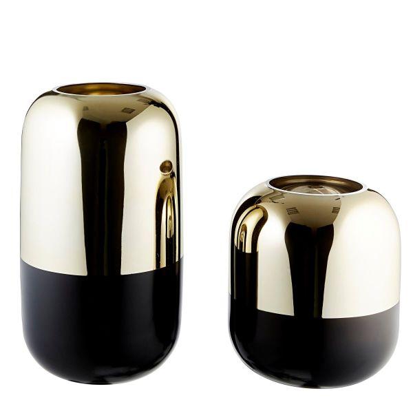 Vasen-Set, 2-tlg. Style Goldfarben/Schwarz