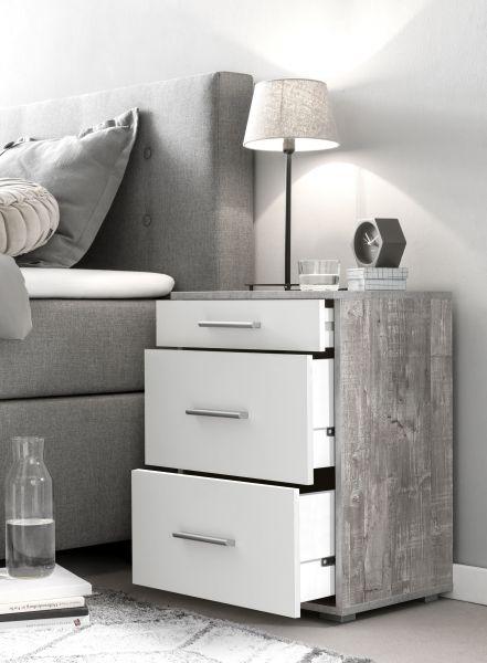 Nako Nachttisch mit Schubladen - 3 Farben