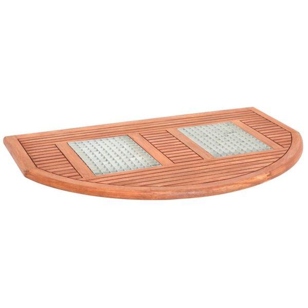 Fußmatte Holz mit Rost halbrund