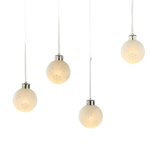 LED-Weihnachtkugel-Set, 4-tlg. Schneeflocken