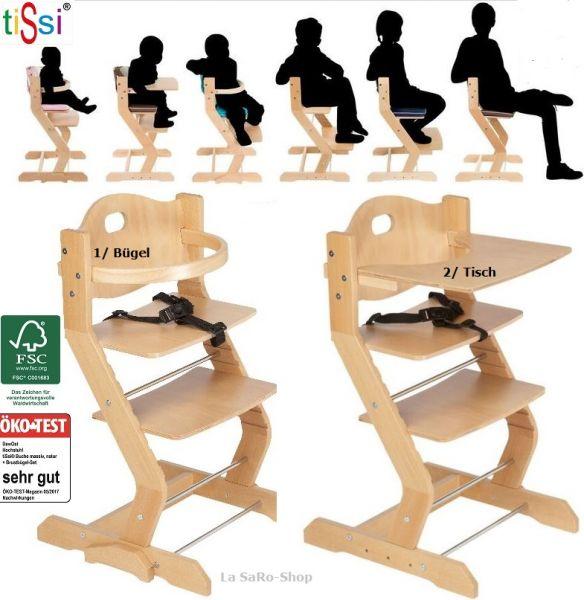 Kinderhochstuhl tiSsi® Babyhochstuhl inkl. Gurt Buche Massiv Natur mit Brustbügel oder Tisch