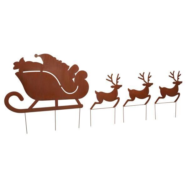 Garten-Stecker-Set, 4-tlg. Santa,Schlitten,Rentiere Braun