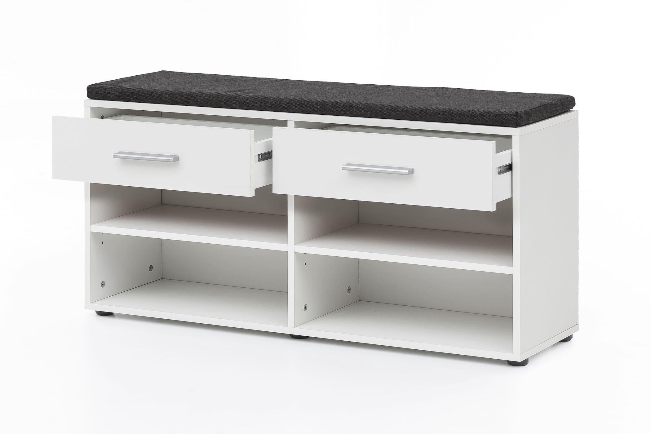 sitzbank mit sitzpolster 2 schubladen wei. Black Bedroom Furniture Sets. Home Design Ideas