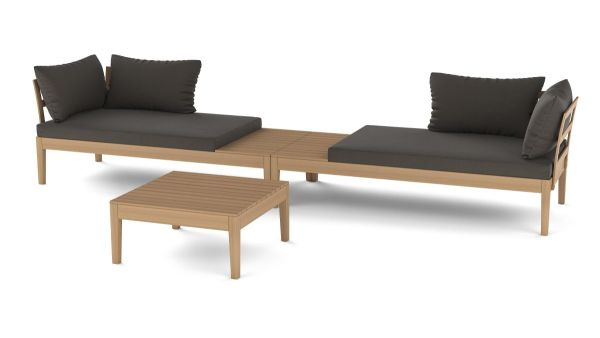 Outdoor-Lounge-Set, 3-tlg. Gino Natur