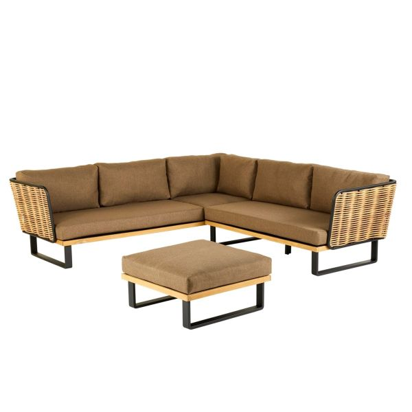 Outdoor-Möbel-Set, 2-tlg. Leonard Natur/Schwarz