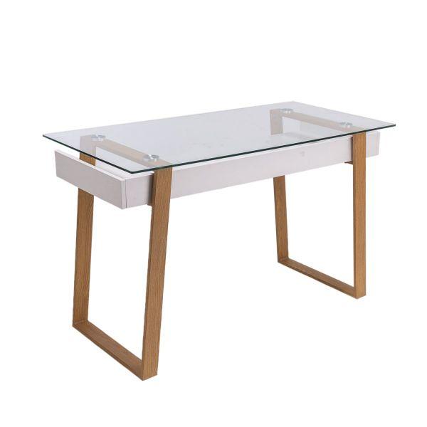 Schreibtisch Nizza Weiß/Braun