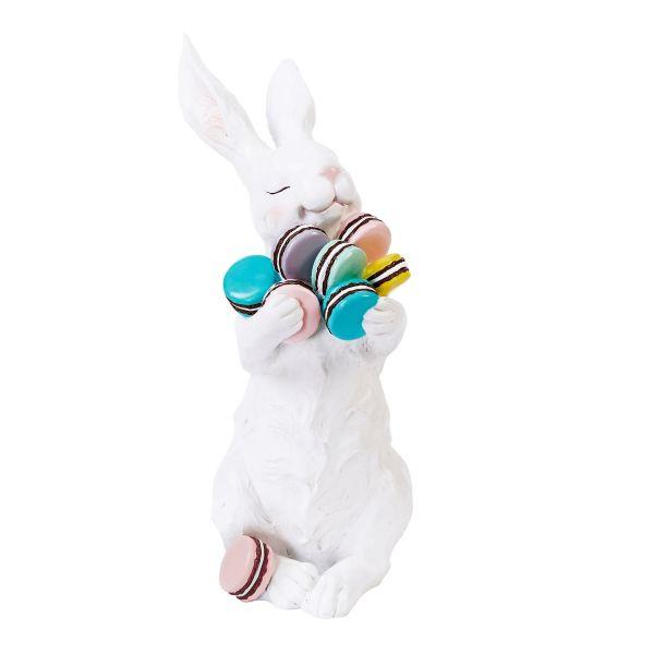 Deko-Figur Hase Macaron Weiß