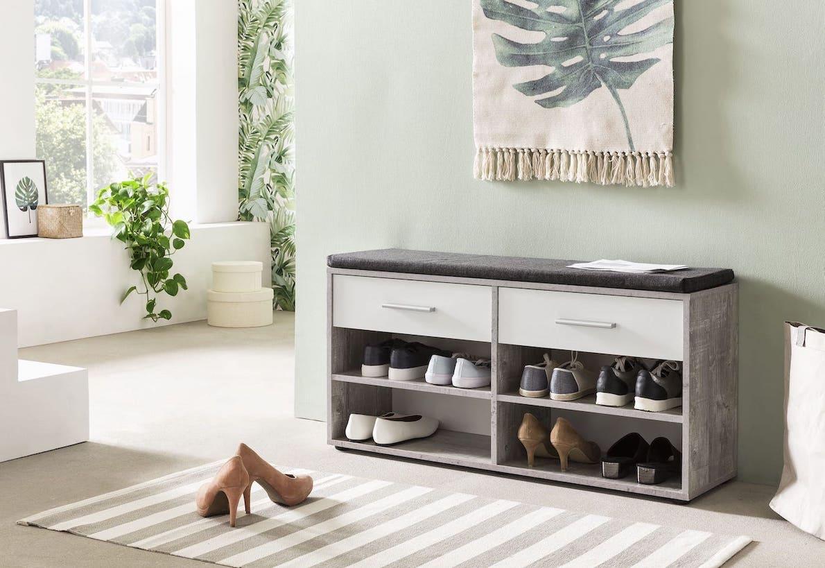 sitzbank mit sitzpolster 2 schubladen. Black Bedroom Furniture Sets. Home Design Ideas