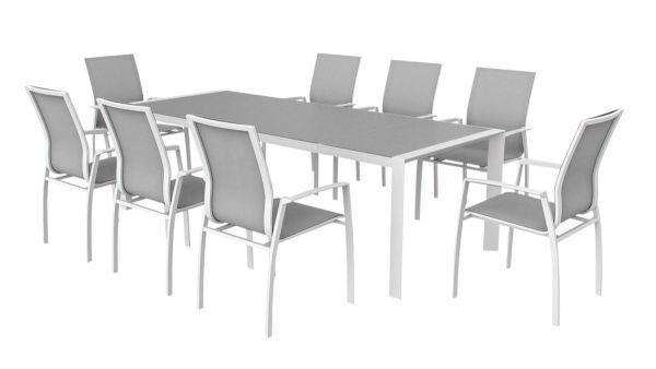 Outdoor-Möbel-Set 9-tlg. Cordoba Weiß
