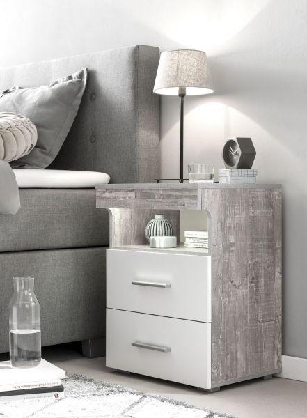 Nako Nachttisch mit Schubladen und Ablage - 3 Farben