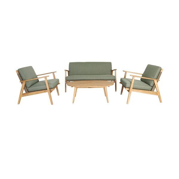 Outdoor-Möbel-Set, 4-tlg. Caja Natur/Grün