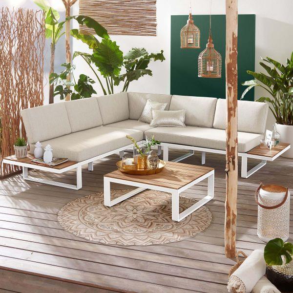 Outdoor Lounge Mila 2 tlg. Weiss Natur Motiv
