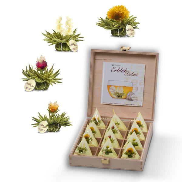 Creano Holzpräsentbox Teelini Weißtee, 12 Teeblumen