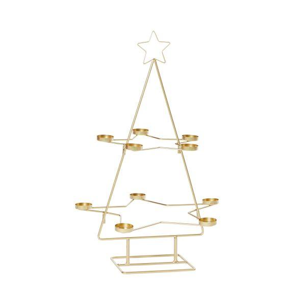 Teelichthalter Weihnachtsbaum Goldfarben