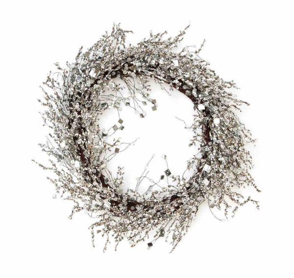 Dekokranz Snowglitter Ø 50 cm Rattan Perlen Glaskristalle