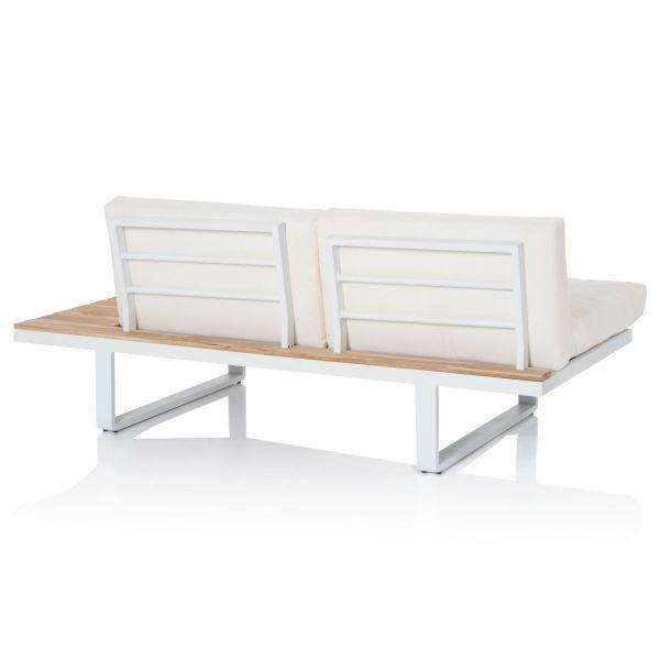 Outdoor-Lounge-Set, 2-tlg. Weiß/Natur