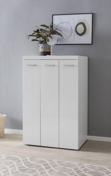 Midi-Kleiderschrank 90 x 139 cm Weiß hochglanz