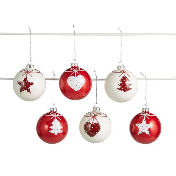 Weihnachtskugeln Merry, 6-tlg. Rot