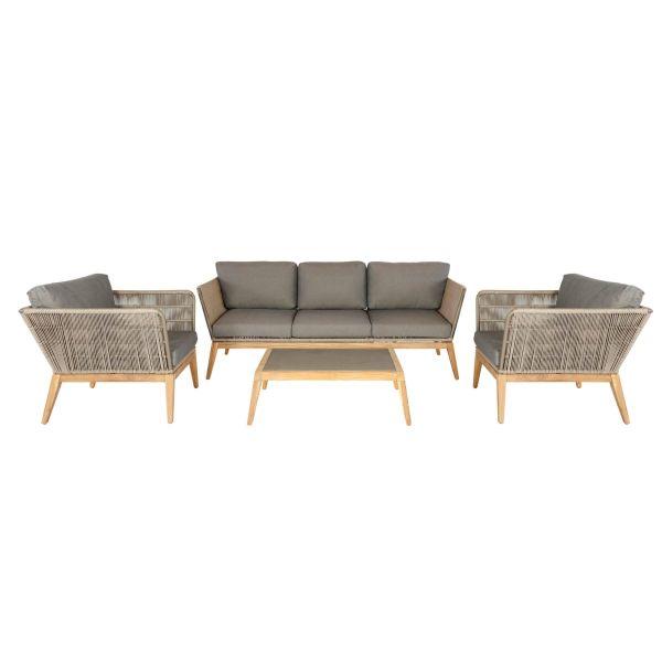 Outdoor-Möbel-Set, 4-tlg Skagen Natur/Grau